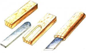 нож-косяк с ручкой из дерева
