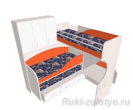 трехярусная детская кровать своими руками