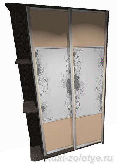 узкий шкаф-купе с радиусными полками