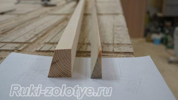 деревянные клинышки, чтобы изменить угол чашечной петли