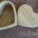 шкатулка в форме сердца из массива.