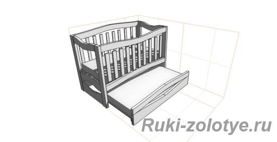 Проект детской кроватки на два ребенка PRO100